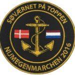Broderet mærket til Søværnet. Vi har i samme omgang lavet T-shirts med tryk til deltagerne i Nijmegenmarchen 2016